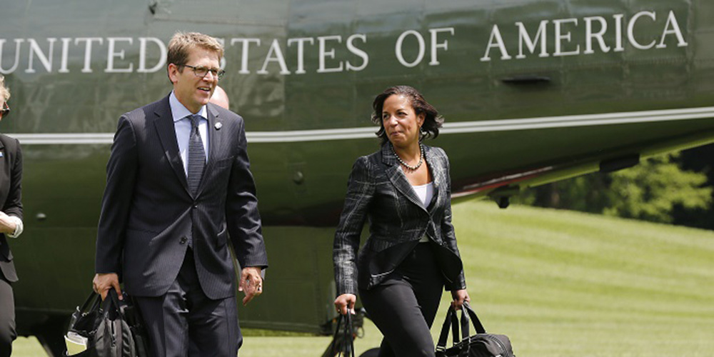 Susan Rice Walking Away from a Helicopter
